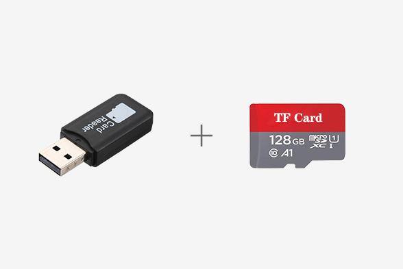 بطاقة 128G TF مع جهاز قارئ للبطاقات
